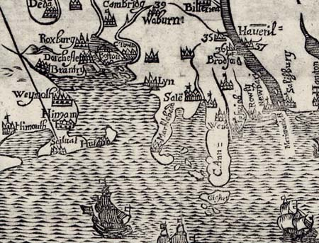 17th Century map of Dorchester and Boston Harbor