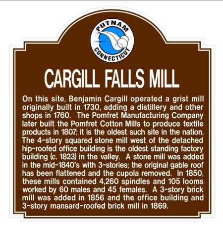 Marker at Cargill Falls Mill, site of mill owned by John Daniels.