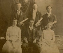 Graduation of Will Careleton Daniells and Iva Bliss in 1901.  W.C. is center back row, Iva is far right, front row.