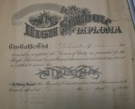 W.C.'s Diploma from 10th grade in 1901.