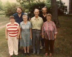 The Winegar family in 1987: left to right, Mary E., Carl, Mary D., Don, Jim, and Donna.  This is one of the last pictures made of the entire family.