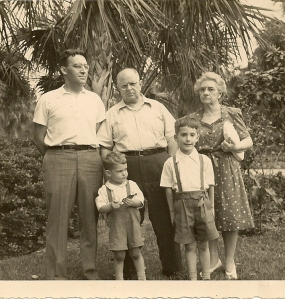 Allan and Esther Daniells with son-in-law Charles Wieters and grandsons David and Richard, 1945.