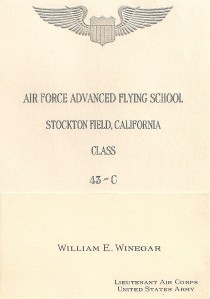 Bill's flying school graduation announcement
