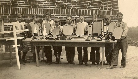 Bill's 4H Club woodworking class.  Bill is 4th from left.
