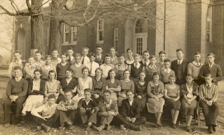 Bill Winegar's High School class picture.  Bill is far left in 3rd row.
