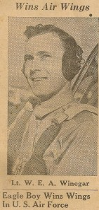 Newspaper article about Bill Winegar earning his wings.