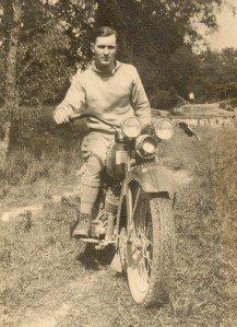 Donald Winegar and his motocycle.