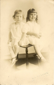 Cousins Dora Katherine Daniells, daughter of Will Carleton, and Katherine Esther Daniells, daughter of Allan, ca 1912.