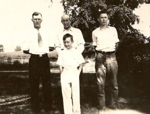 Donald, left, with his father Edd Winegar and brothers Bill, right, and Paul, front center.