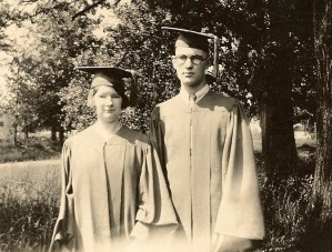 Donald Winegar and sister Esther graduate from Lansing High School in 1928.