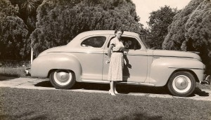 Eleanor and her car, Sept. 6, 1948.