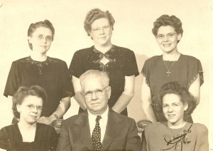 Front row left to right, Eleanor, W.C. and Jean.  Back row, Mary, Dora, and Betty.
