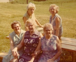 Jean, Dora, and Mary front row.  Betty and Eleanor back row.