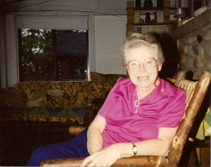Mary Winegar on the porch at the cottage, 1992